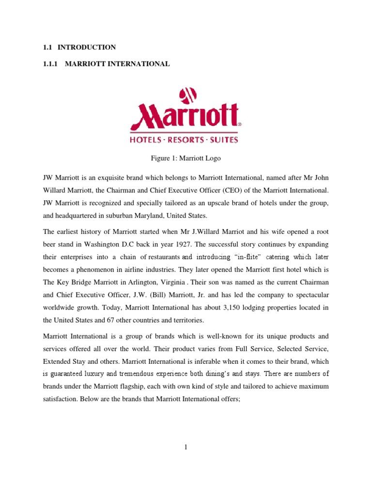 Elegant Internship Report | Marriott International | Hotel