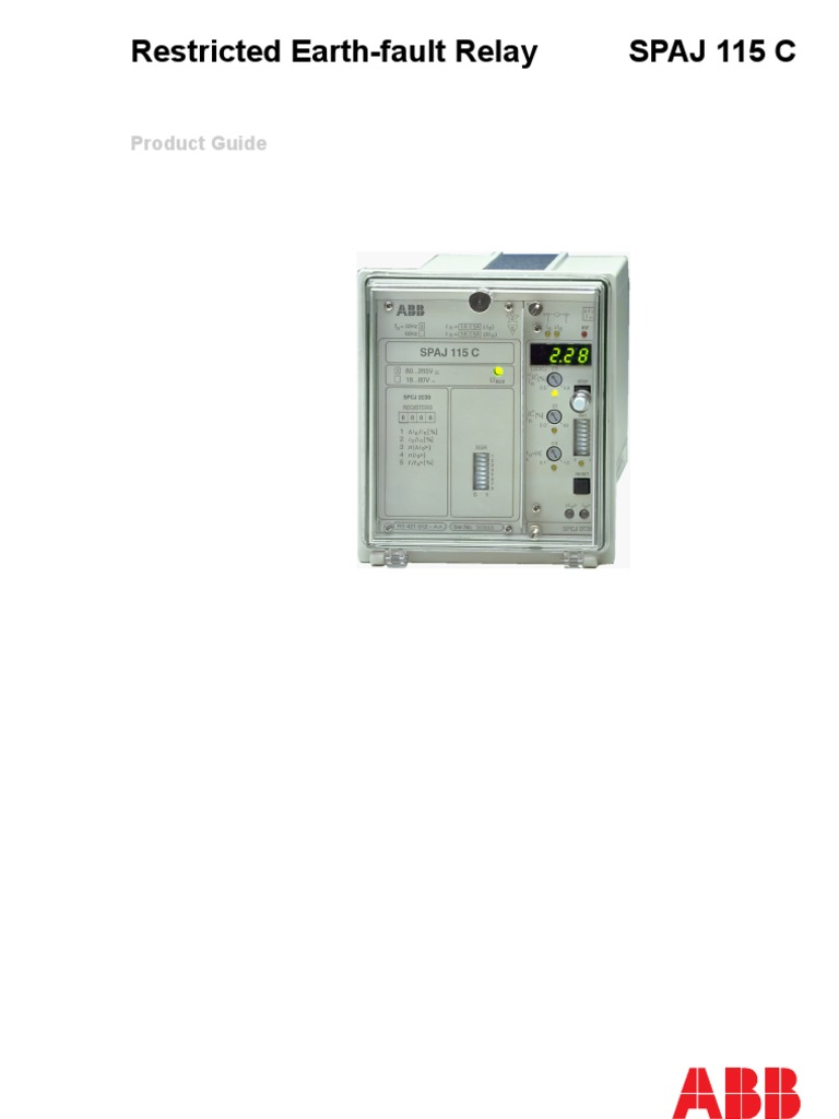 Restriced Earth Fault Abb Relay Spaj115c Power Supply Under Current