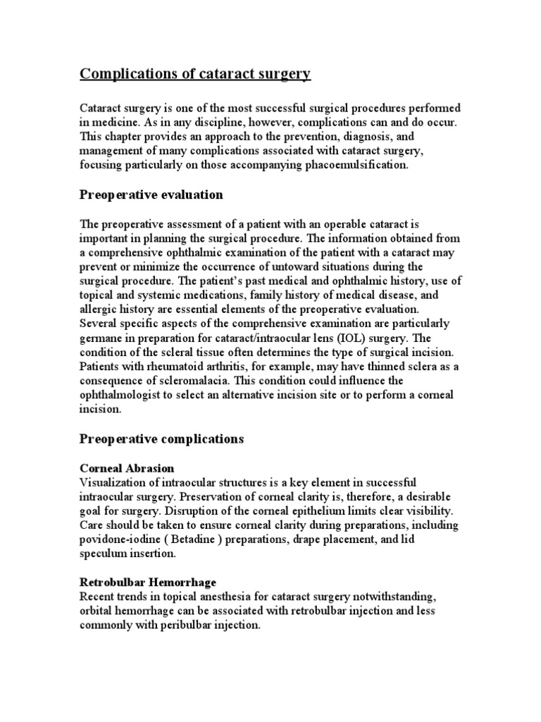 Complications Of Cataract Surgery Glaucoma Cataract