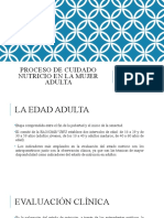 PROCESO DE CUIDADO NUTRICIO EN LA MUJER ADULTA