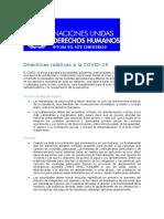 Directrices relativas a la COVID