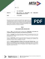 ARTA - Memorandum Circular 2020-05, rules of procedures for complaints handling and resolution