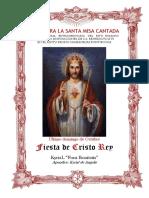 Fiesta de Cristo Rey. Guía de los fieles para la santa misa cantada. Kyrial Fons Bonitatis . En apéndice