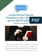 Article 834 Du Code de Procédure Civile