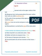 C2. Adaptations in Plants QA
