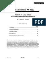 AN-1020 - IR21571 T5 Lamp Ballast Using Voltage-Mode Filament Heating