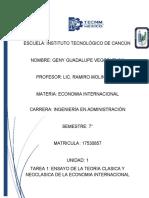 ENSAYO DE LA TEORIA CLASICA Y NEOCLASICA DE LA ECONOMIA INTERNACIONAL.docx