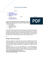 Life and Product Insurance Products