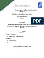 Influencia de la cantidad del analito en la respuesta del cromatógrafo de gases  (Calibración del cromatografo de gases