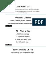 Love Poems List - ANonymous.docx