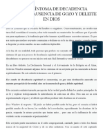 PRIMER SÍNTOMA DE DECADENCIA ESPIRITUAL