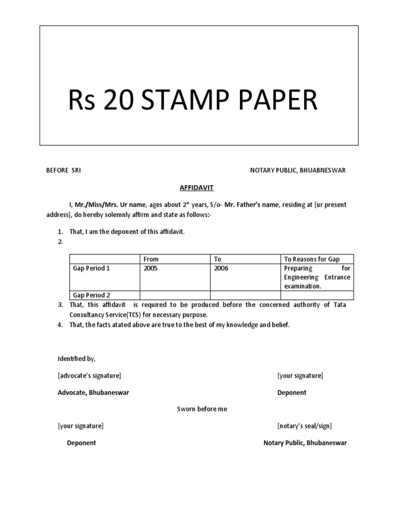 Year Gap Affidavit Format For TCS  Name Affidavit Form