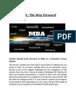 MBA the Way Forward