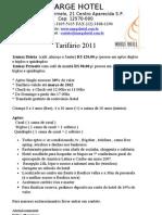 tabela de dirias 2011