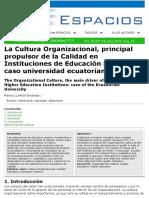 La Cultura Organizacional, principal propulsor de la Calidad en Instituciones de Educación SuperiorFUENTE