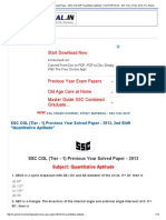 SSC CGL (Tier - 1) Previous Year Solved Paper - 2013, 2nd Shift _Quantitative Aptitude_ _ SSCPORTAL