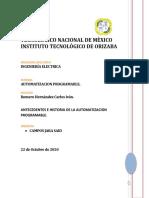 ANTECEDENTES E HISTORIA DE LA AUTOMATIZACION PROGRAMABLE.
