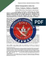 Regímenes Chino, Cubano, Italiano y Español