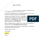 Model letter of APPLICATION - camp helper