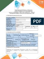 Guía de actividades y rúbrica de evaluación - Tarea 3 - Presupuesto Público, Ejecución presupuestal y PAC (1) (2)