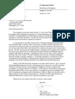 FBI Letter to Sen. Ron Johnson