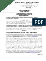 Resolución No. 031 de 2020 - Campeonato Nacional Sub18 Online 2020