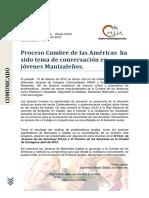 COMUNICADO[01 ]Manizales diálogo previo cumbre de las americas