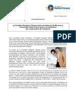La Fondation Bouygues Telecom remet un chèque de 50 000 euros à l'Association Petits Princes