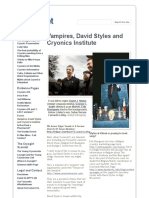 Vampires, David Styles and Cryonics Institute - Cryonics Factsheet