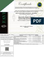 Certificado de Conclusão de Curso - Com Fundo - Emanuel Soares Pereira - Educação Física Escolar - 240 Horas