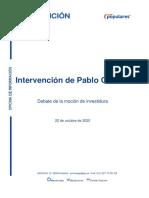 Discurso de Pablo Casado durante la moción de censura de Vox (22/10/2020)