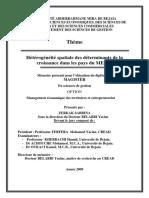 Hétérogénéité Spatiale Des Déterminants de La Croissance Dans Les Pays Du MENA