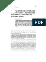 1993 - Le corps entre biotechologies et psychanalyse