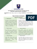 TIPOS DE CIENCIAS E INVESTIGACION.