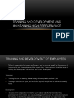 Training and development and maintaining high performance