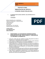 PROYECTO FINAL ADMINISTRACION DE VENTAS II. FACILITADORA HILDA OVALLES
