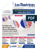 DIARIO LAS AMÉRICAS Portada 22 de Octubre 2020