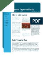 Seasons, Purpose and Destiny