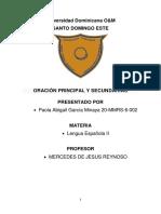 ORACIÓN PRINCIPAL Y SECUNDARIAS-Paola García 20-MMRS-6-002