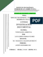 Investigación tipos de transporte membrana celular Toxicología U2 Luis Alberto Ferman Flores .pdf