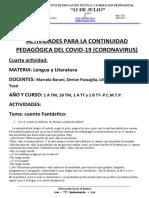 actividad Fantástico - 1ro lengua  - Cuarentena