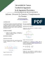 Divisor de Tension y  Transformacion de Fuentes