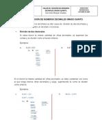 TALLER DE  DIVISIÓN DE NÚMEROS DECIMALES GRADO QUINTO.