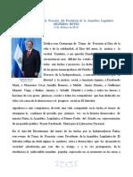 Discurso de Sigfrido Reyes, Presidente de La Asamblea Legislativa 1 de Feb 11