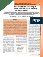 Agrietamiento por solidificación de extremos de soldadura en soldadura GMAW en tándem pulsado de aceros navales