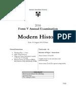 Sydney Grammar 2016 Modern History Prelim Yearly