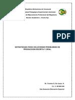 ESTRATEGIAS PARA SOLUCIONAR PROBLEMAS DE PRODUCCION ESCRITA Y ORAL.