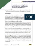 Prueba de anticuerpos anti-péptido citrulinado cíclico para el diagnóstico de la artritis reumatoide