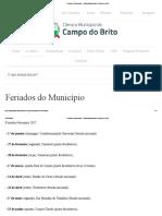 12 Feriados do Município - Câmara Municipal de Campo do Brito