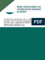 La qualité dans les laboratoires de biologie médicale